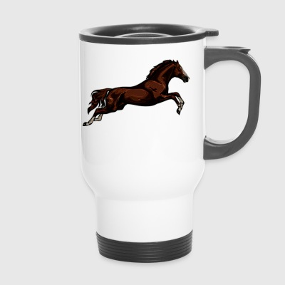 Horse in full jump - Travel Mug