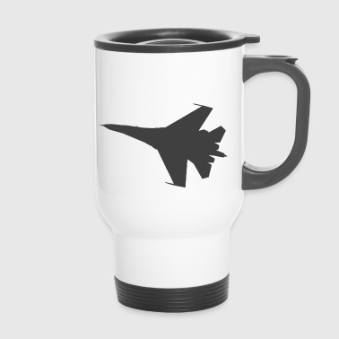 Military fighter jet plane jet silhouette - Travel Mug
