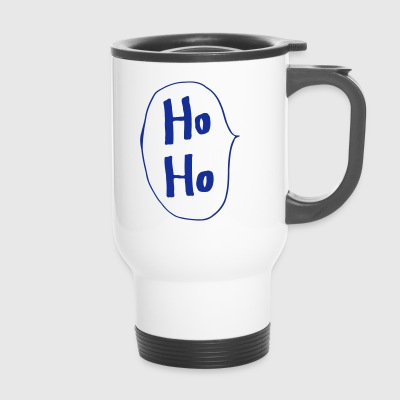 Ho Ho handwriting speech bubble Santa Claus - Travel Mug