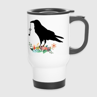 Flowery crow with key - Travel Mug