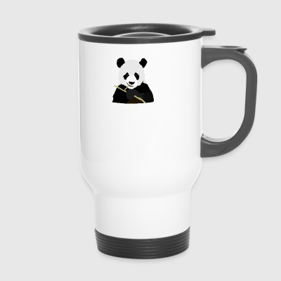 Panda isst Stock - Thermobecher