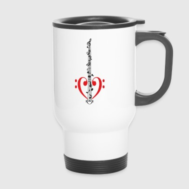 Bass guitar with body Bass clef as heart - Travel Mug