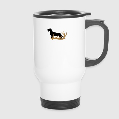 Rauhaardackel with antler - Travel Mug