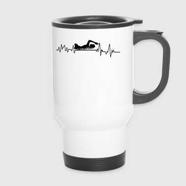 Heartbeat Swimmer T-Shirt Water Sports Gift - Travel Mug