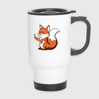 Fox with headphones gift animal idea child music - Travel Mug