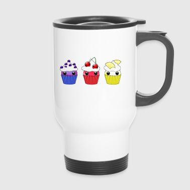 Three kawaii cupcakes blueberry cherry lemon - Travel Mug