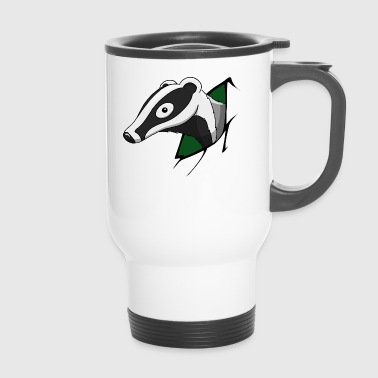 Badger green forest animal cheeky funny comic gift - Travel Mug