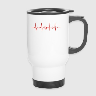 Heartbeat Heart EKG Evolution Human Surfers Surfing - Travel Mug