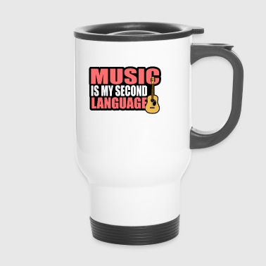 Music is my second language guitar music notes - Travel Mug