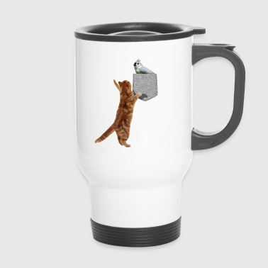 Cat Reaching Tufted Titmouse In Fake Print-On - Travel Mug