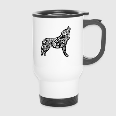 Loup stylisé version mandalas - Mug thermos