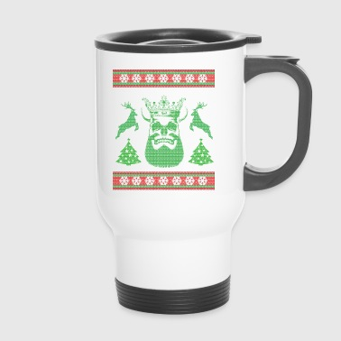 Christmas skull reindeer Ugly - Travel Mug