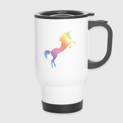 flying unicorn rainbow - Thermobecher