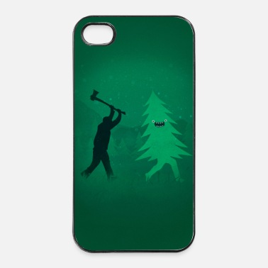 Winter Funny Christmas Tree vs. Lumberjack - Phone Case - iPhone 4/4s hard case