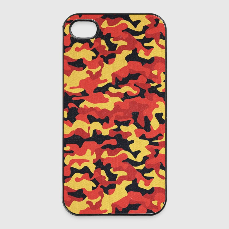 Camouflage Pattern in Red Black Yellow  - iPhone 4/4s Hard Case