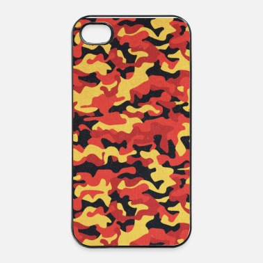 Militare Camouflage Pattern in Red Black Yellow  - Custodia rigida per iPhone 4/4s