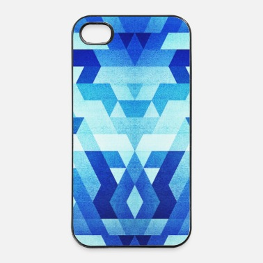 Quadrato  Blue Geometry  Triangle Pattern - Handy Case  - Custodia rigida per iPhone 4/4s