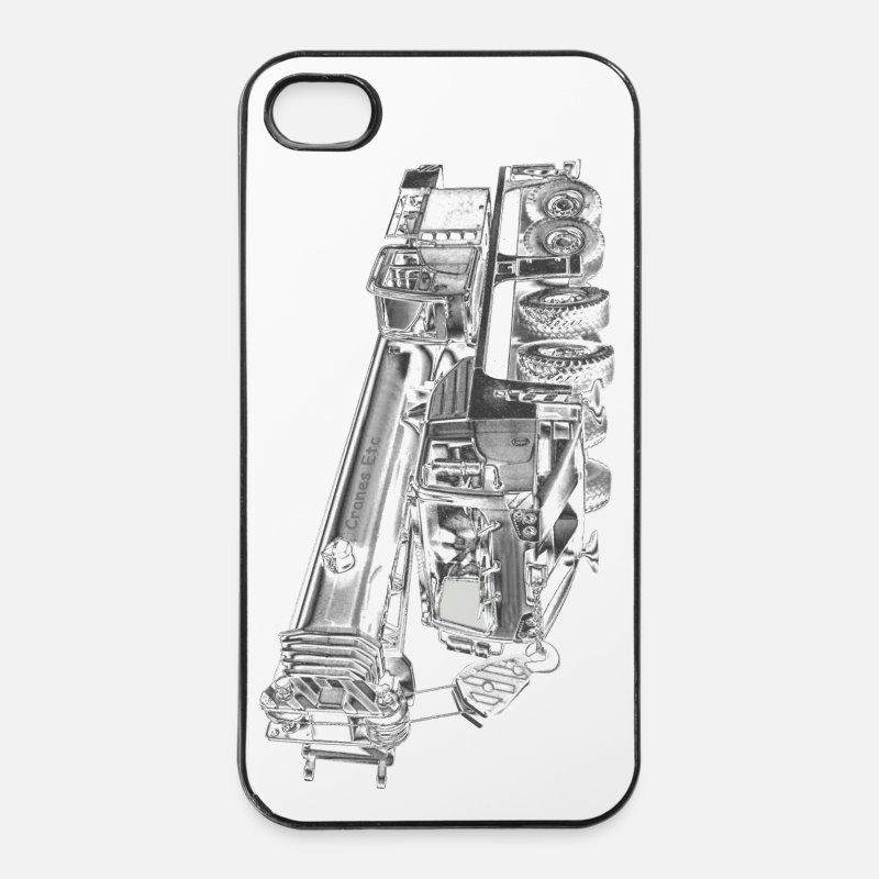 Mobile iPhone Cases - Mobile Crane 4-axle - iPhone 4 & 4s Case white/black