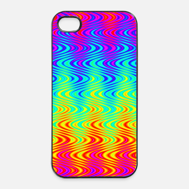 Dad Your Text iPhone Cases - psychedelic background pattern color rainbow phone - iPhone 4 & 4s Case white/black