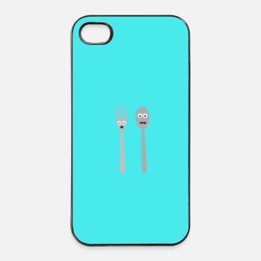 Pasto Cucchiaio e forchetta kawaii - caso - Custodia rigida per iPhone 4/4s