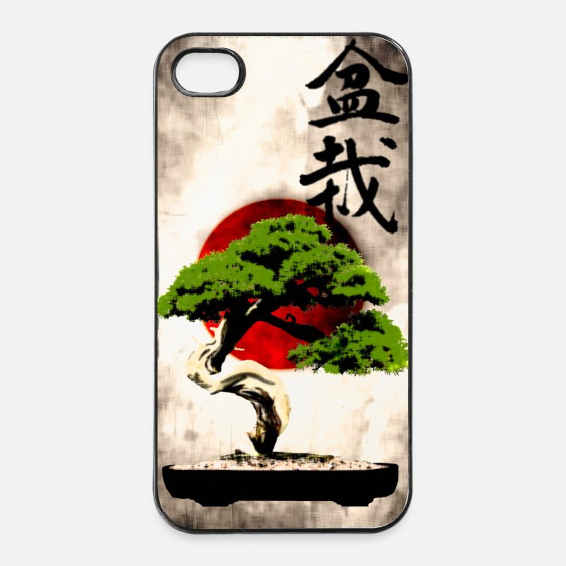 Japanese iPhone Cases - Bonsai against Japanese flag Art Print - iPhone 4 & 4s Case white/black