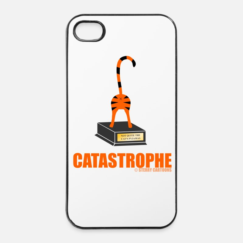 Rude iPhone Cases - Catastrophe: Rude Cat Joke by Sterry Cartoons - iPhone 4 Case white/black