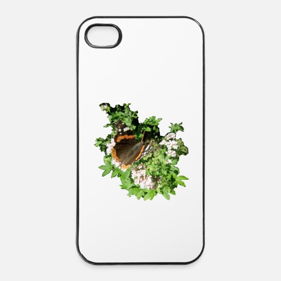 Animal Print iPhone Hüllen - Schmetterling Admiral - iPhone 4 & 4s Hülle Weiß/Schwarz