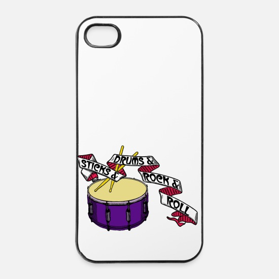 Linke iPhone Hüllen - Sticks And Drums And Rock And Roll - Tattoo Links - iPhone 4 & 4s Hülle Weiß/Schwarz