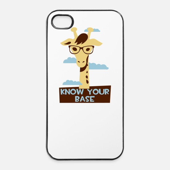 Giraffe iPhone Hüllen - Giraffe, Know you base - iPhone 4 & 4s Hülle Weiß/Schwarz