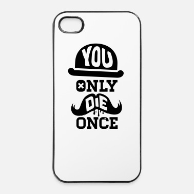 Anonymous You only die once evolution geek quote moustache - Coque rigide iPhone 4/4s