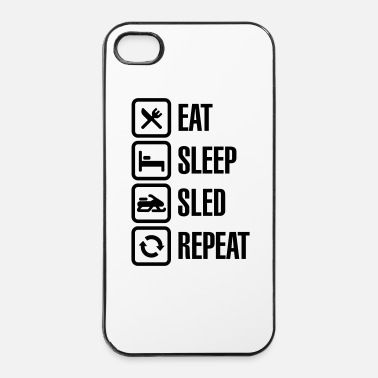 Accro Eat sleep motor sled / snowmobile repeat - Coque rigide iPhone 4/4s