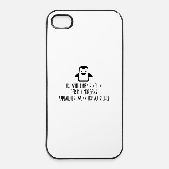 Penguin iPhone Cases - I want a penguin with applauding! (2015) - iPhone 4 & 4s Case white/black