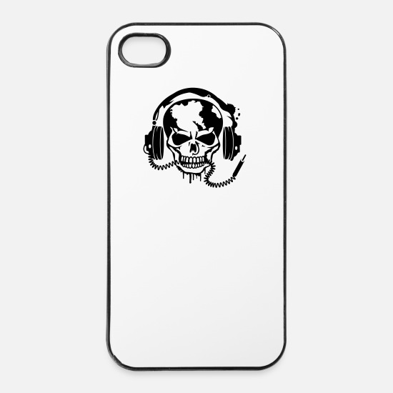 Skull iPhone Cases - Skull with headphones - iPhone 4 & 4s Case white/black