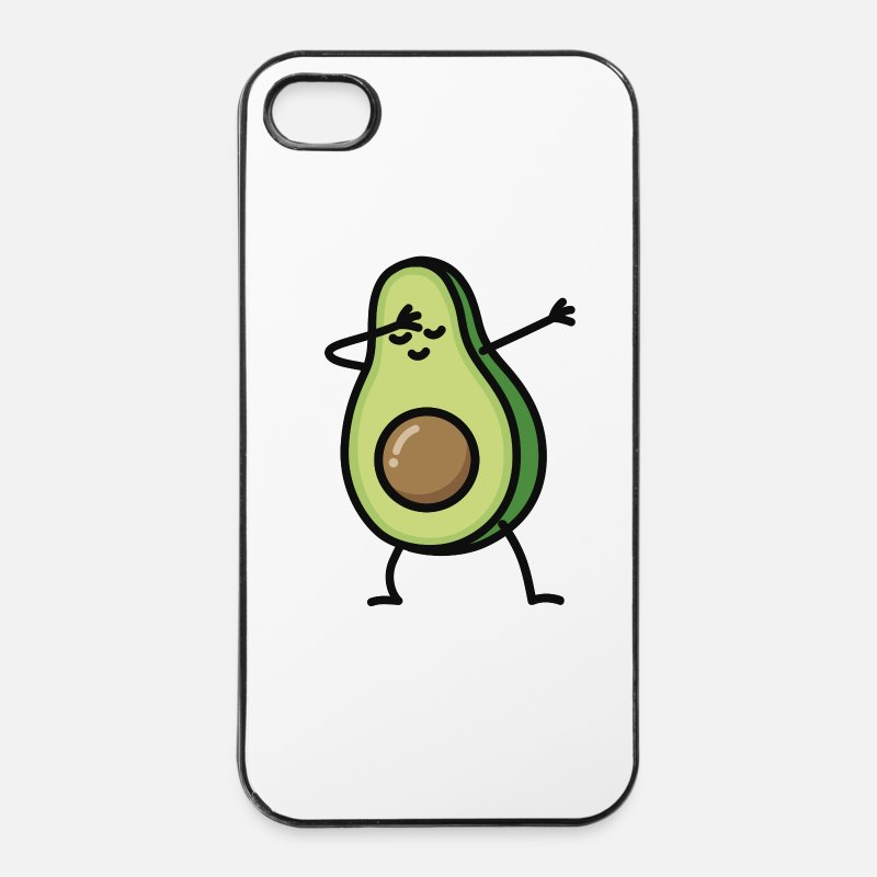Avocado iPhone hoesjes - Avocado dab dabbing - iPhone 4/4s hoesje wit/zwart