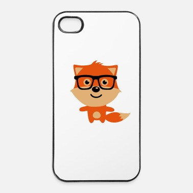 Kinder Cute & Funny Hipster Baby fox with nerd glasses - iPhone 4 & 4s Hülle