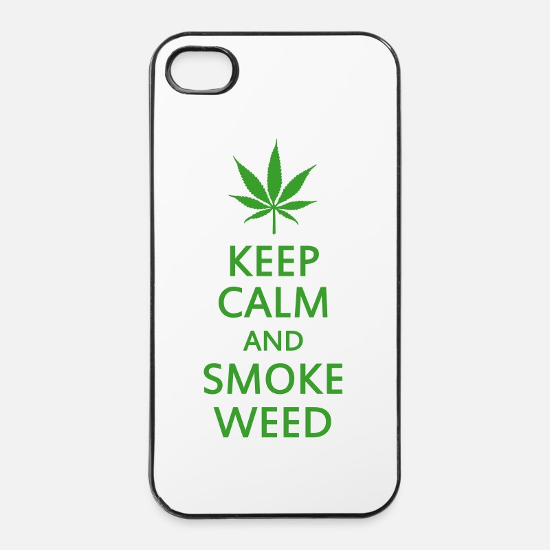 Marijuana Custodie per iPhone - keep calm and smoke weed - Custodia rigida per iPhone 4/4s bianco/nero