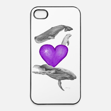 Wal Wale lieben / love whales lila/purple - iPhone 4 & 4s Hülle
