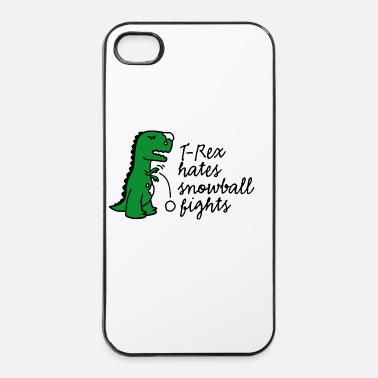 Bataille T-Rex hates snowball fights sports d'hiver neige - Coque rigide iPhone 4/4s