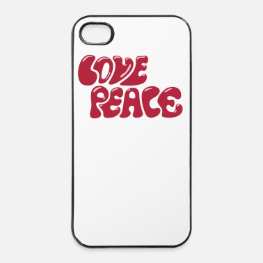 Puissance Love Peace seventies 70s retro style flower power - Coque rigide iPhone 4/4s