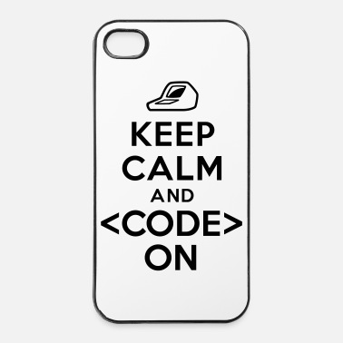 Code Keep calm and code on - Coque rigide iPhone 4/4s