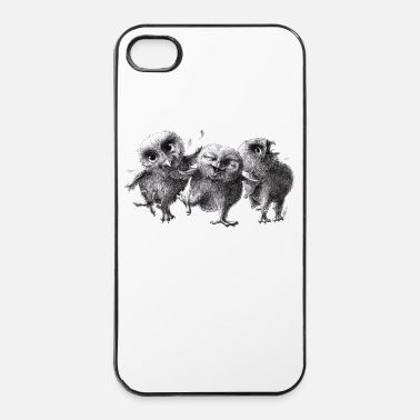 Encre chouettes - three crazy owls - Coque rigide iPhone 4/4s