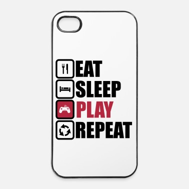 Console eat sleep play repeat,geek,gamer,gaming,console - Coque rigide iPhone 4/4s