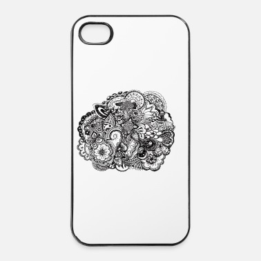 Hippie Black and white pen and ink doodle Bottles & Mugs - iPhone 4 & 4s Case