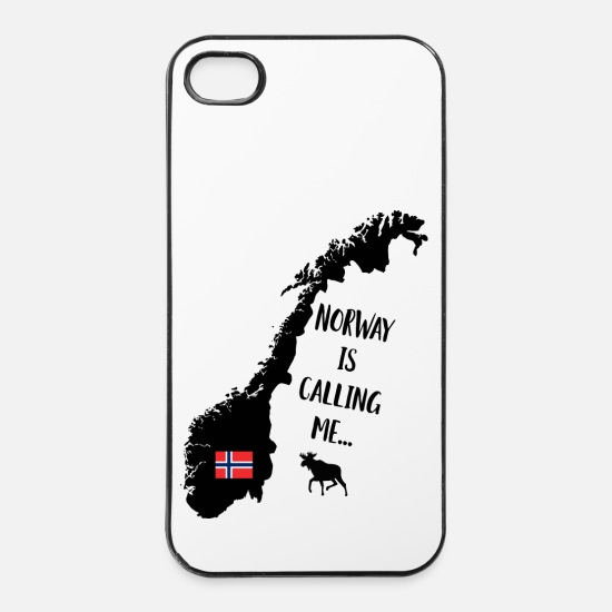 Norway iPhone Cases - Norway Fan Norwegian Map Flag Elk Saying - iPhone 4 & 4s Case white/black