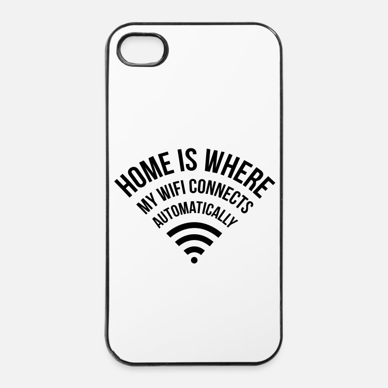 Characters iPhone Cases - WIFI home is where my wifi connects automatically - iPhone 4 Case white/black