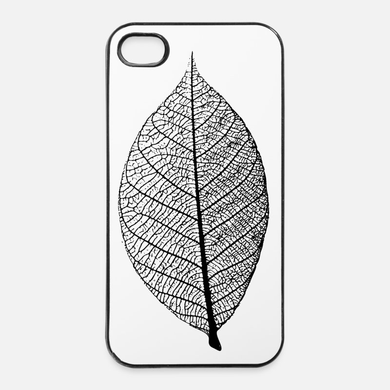Bestsellers Q4 2018 iPhone Cases - leaf tree forest skeleton pattern nerve love heart - iPhone 4 Case white/black