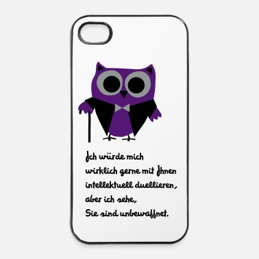 Lustige Eule, Satire, Spruch Intellektuell duellieren - iPhone 4/4s Hard Case