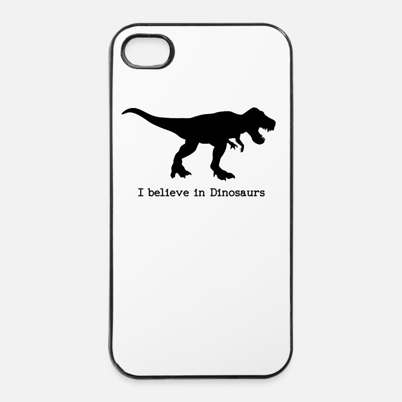 Believe iPhone Cases - I believe in Dinosaurs - iPhone 4 Case white/black