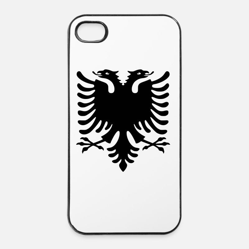 Skenderbeu iPhone Cases - Shqiponja ORIGINAL - iPhone 4 Case white/black