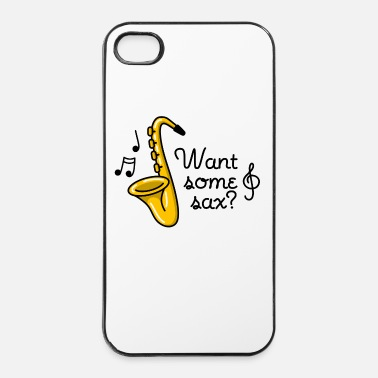 Jazz Want some sax? sex saxophone sexe jeu de mots - Coque rigide iPhone 4/4s